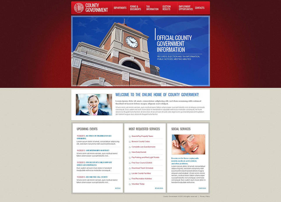 Government Website Template with Red Menu Tabs - image