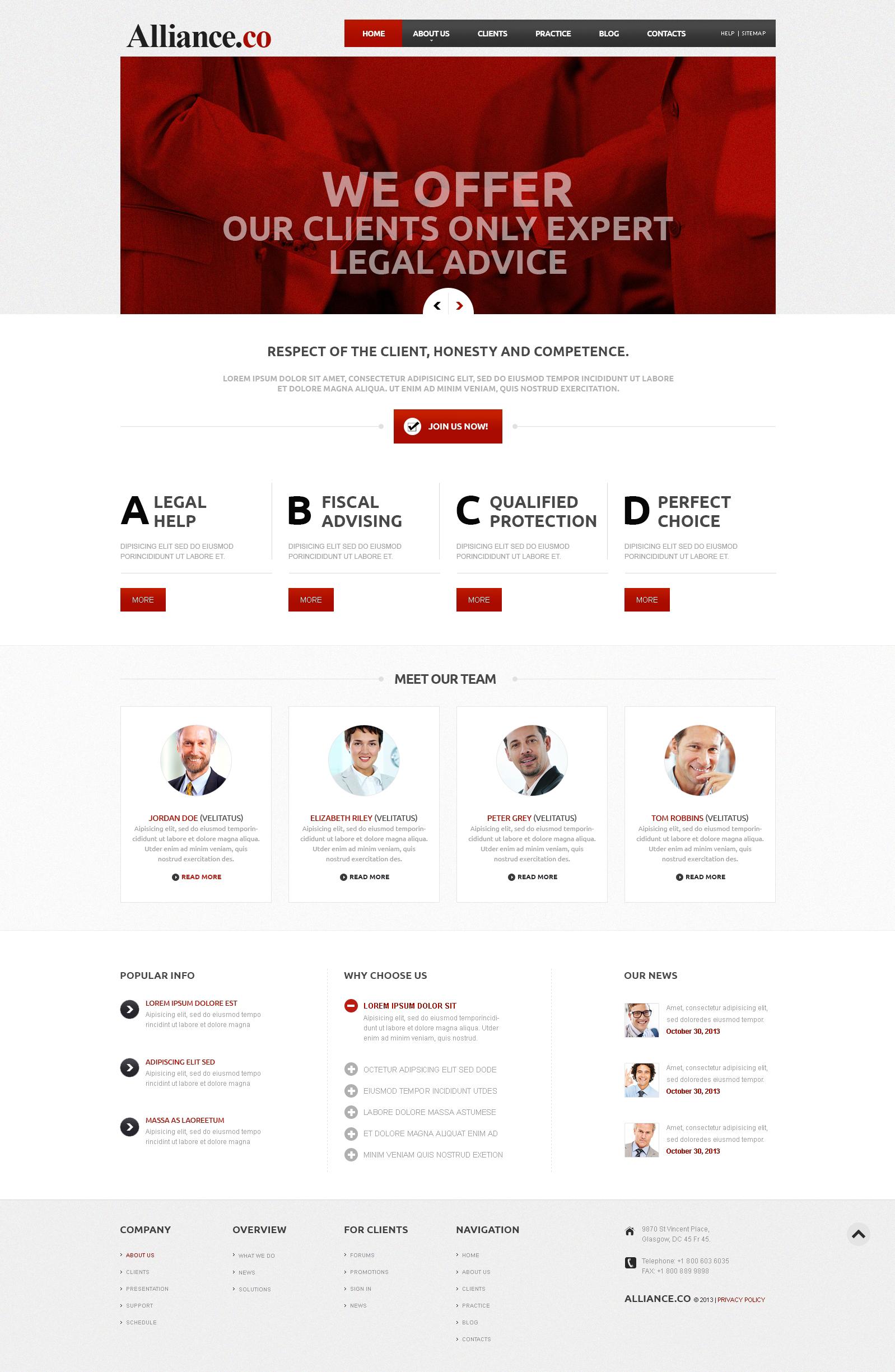 Адаптивный Joomla шаблон №46836 на тему юридическая фирма