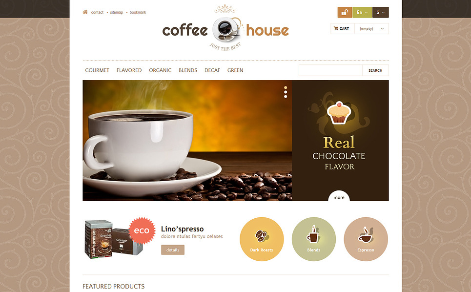 Адаптивный PrestaShop шаблон №46849 на тему магазин кофе New Screenshots BIG