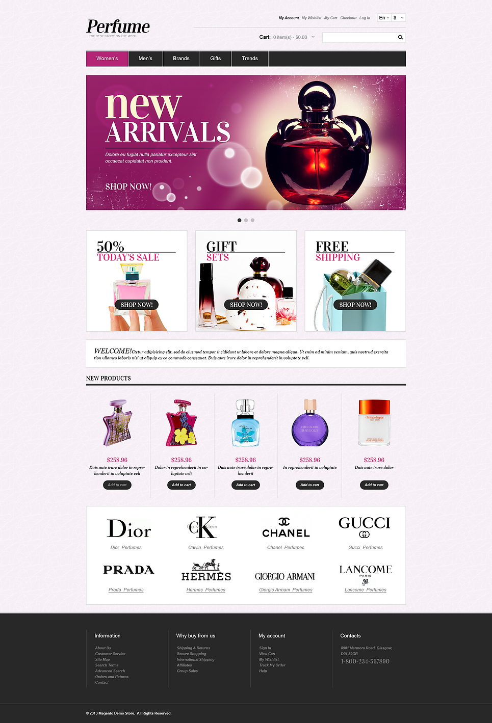 Best Perfumes Magento Theme - Free construction invoice template gucci outlet online store authentic