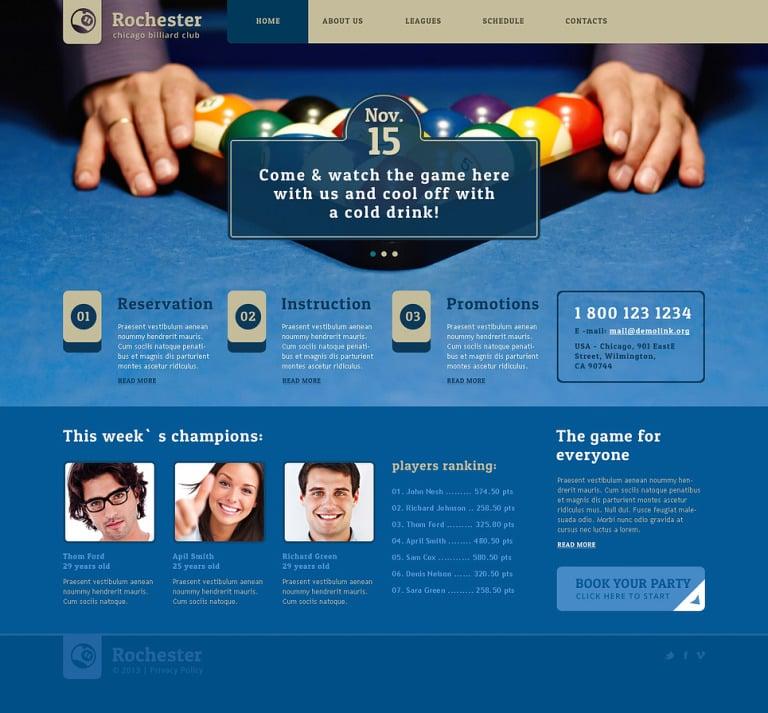 Billiards Responsive Website Template New Screenshots BIG