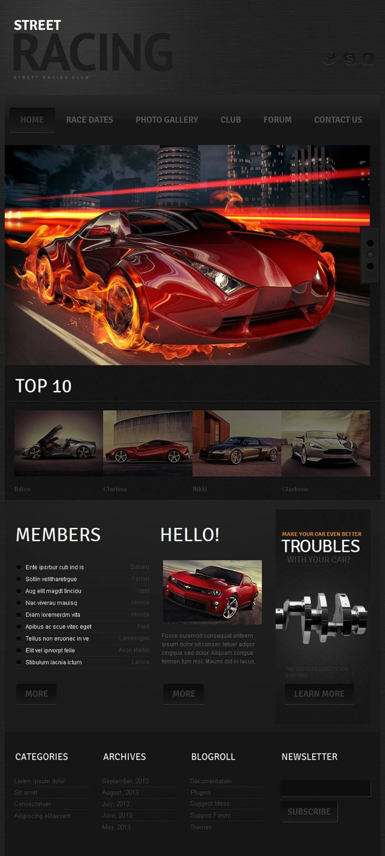 Car Racing Facebook HTML CMS Template New Screenshots BIG