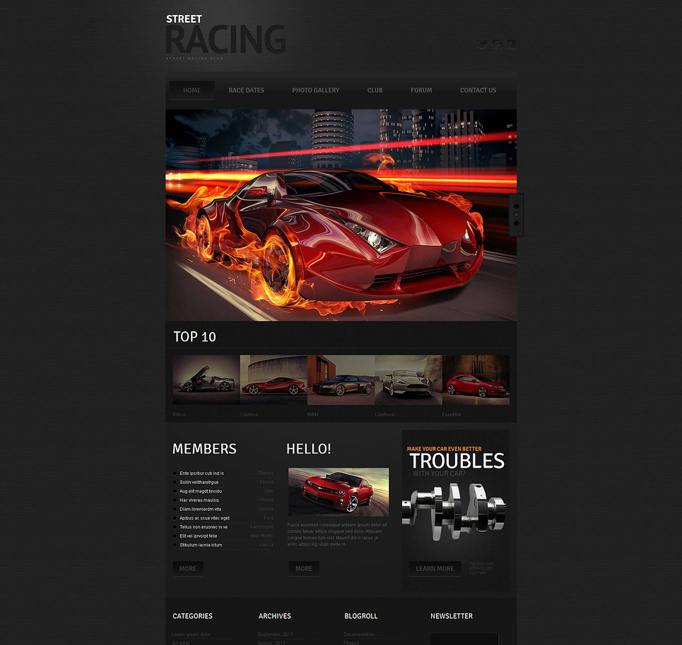 Car Racing Moto CMS HTML Template New Screenshots BIG
