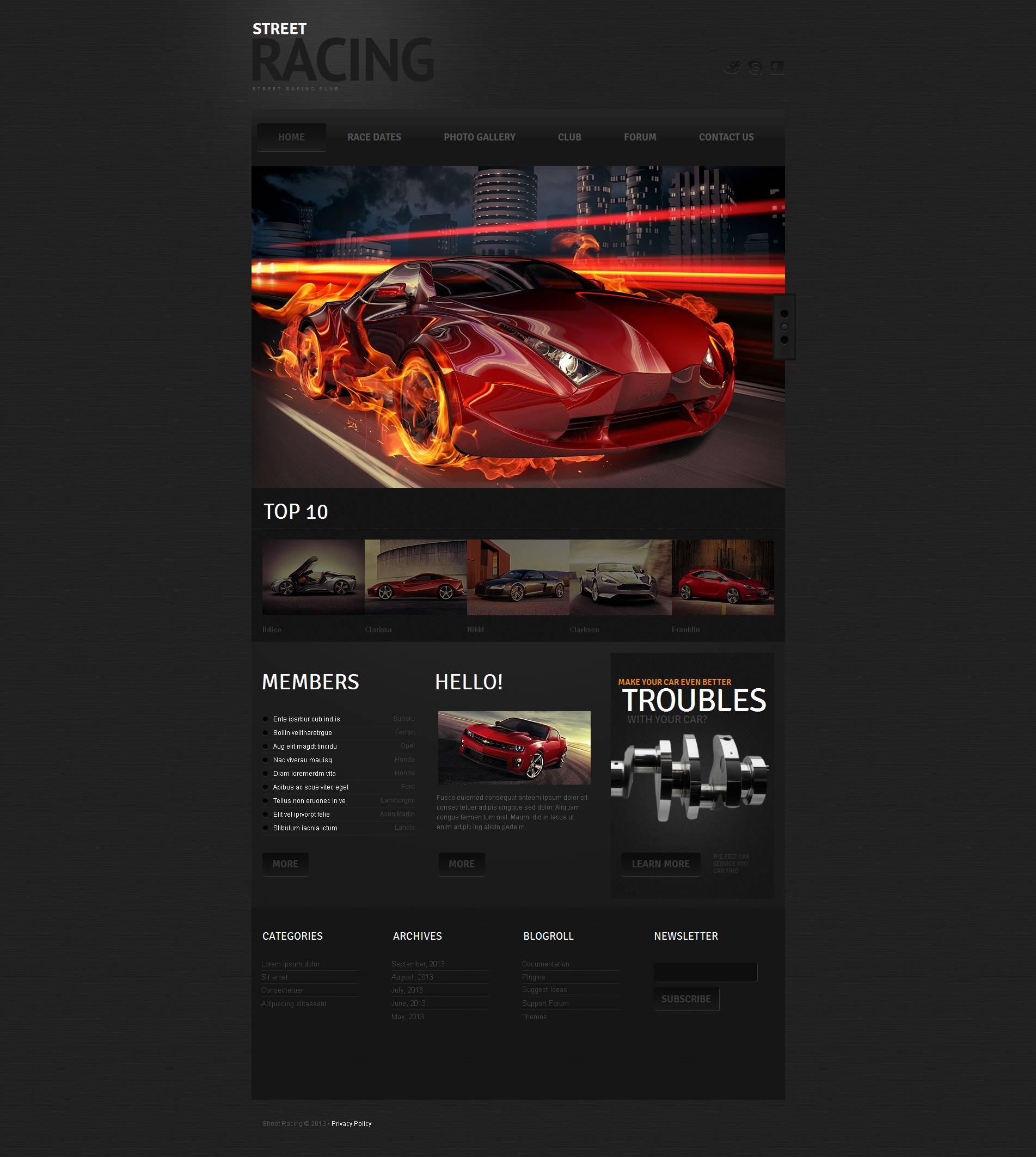 Car Racing Moto CMS HTML Template