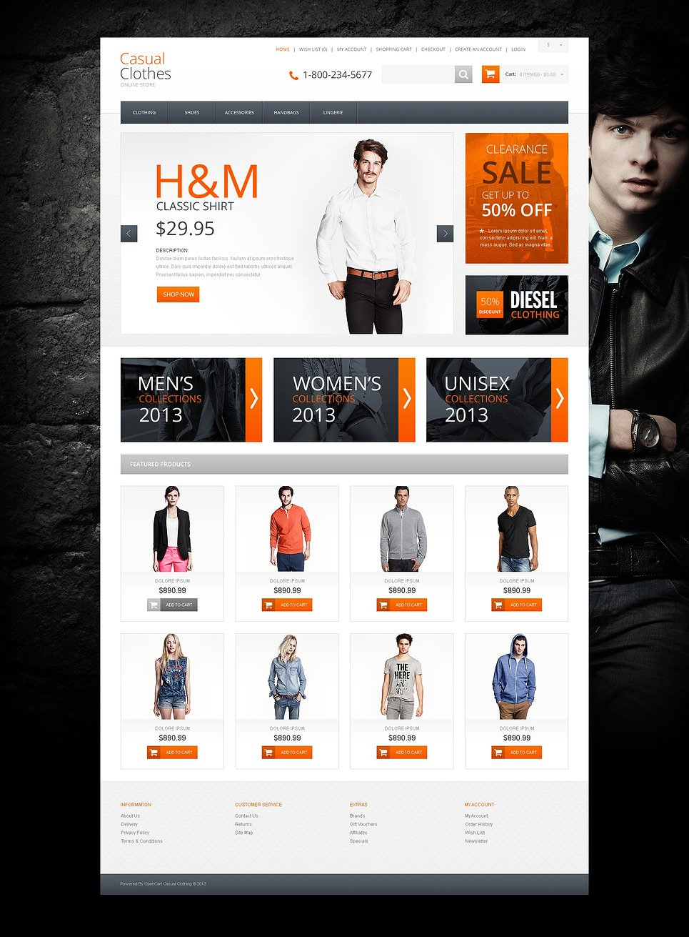 Casual Clothes Store OpenCart Template New Screenshots BIG
