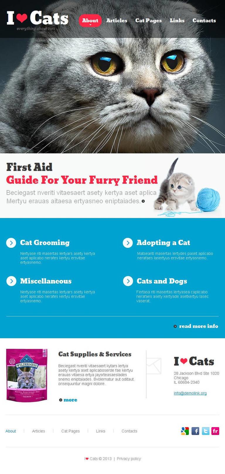 Cat Facebook HTML CMS Template New Screenshots BIG