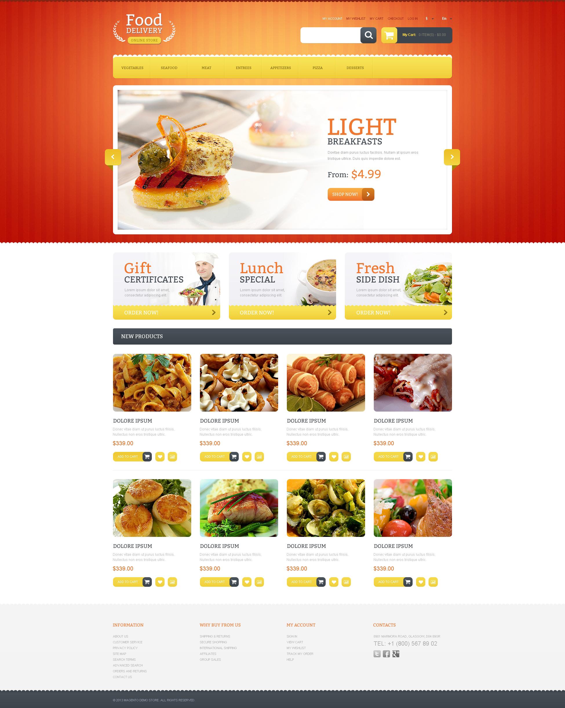 online menu template
