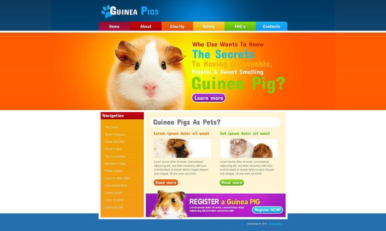 Guinea Pigs Moto CMS HTML Template New Screenshots BIG