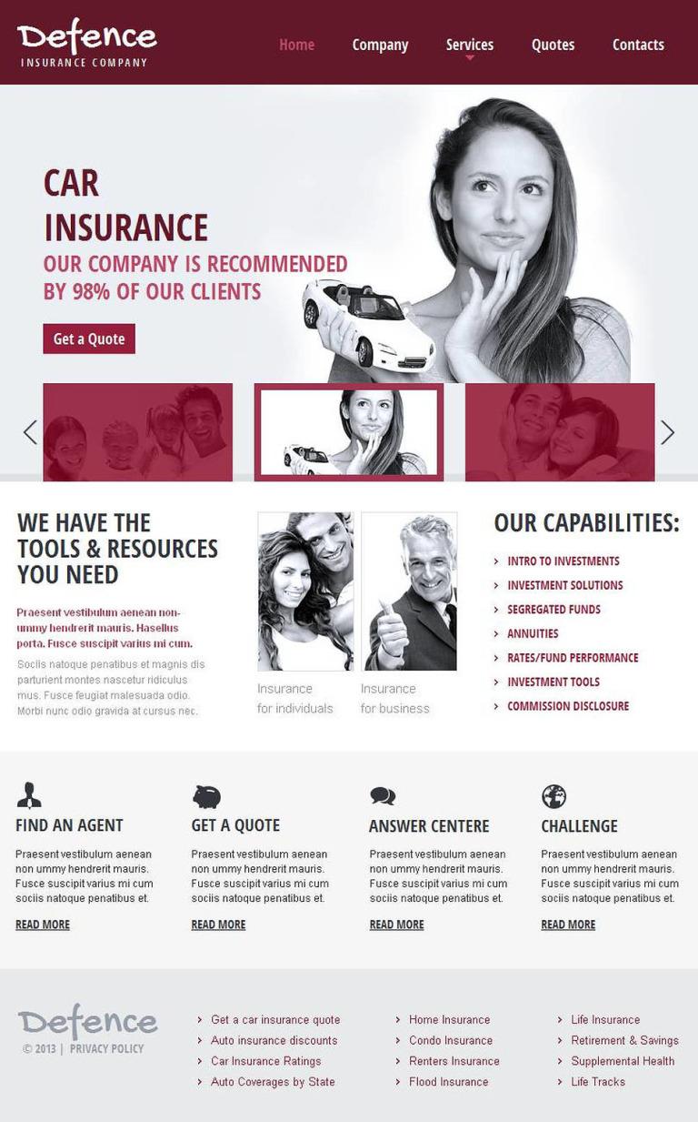 Insurance Facebook HTML CMS Template New Screenshots BIG