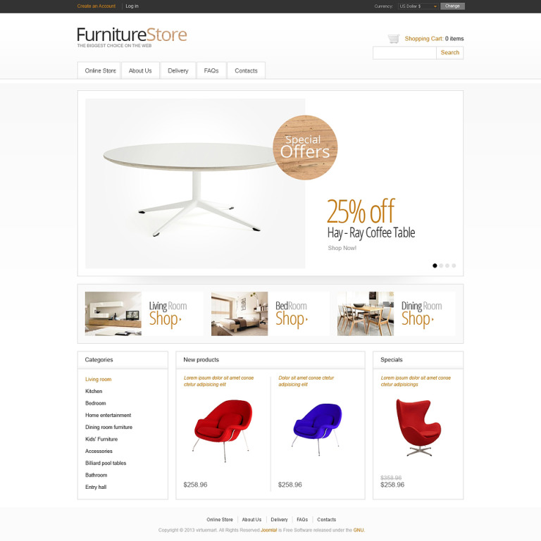 Minimalistic Furniture Store VirtueMart Template New Screenshots BIG