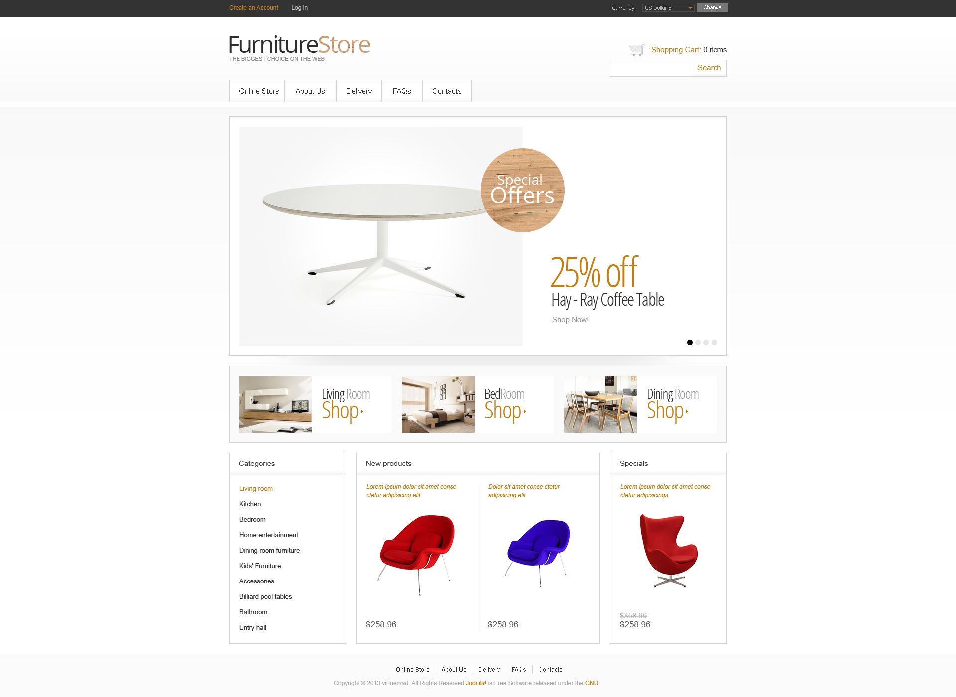 "Modello VirtueMart #46817 ""Minimalistic Furniture Store"""