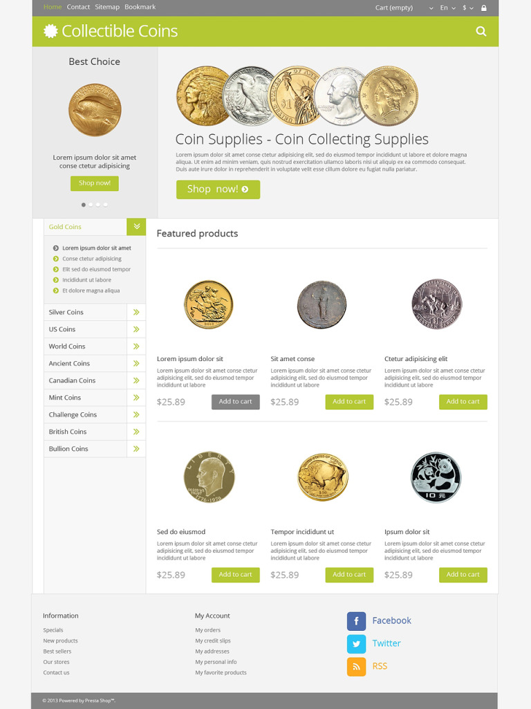 Numismatist PrestaShop Theme New Screenshots BIG
