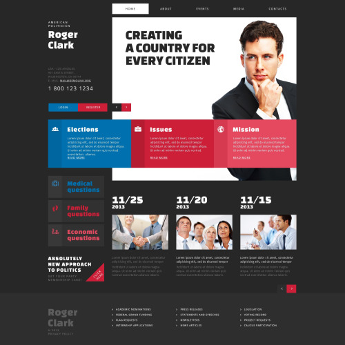 Roger Clark - Political Template based on Bootstrap
