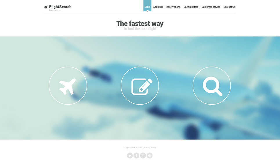 Private Airline Website Template 46820