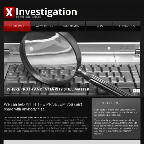 X Investigator - Facebook HTML CMS Template