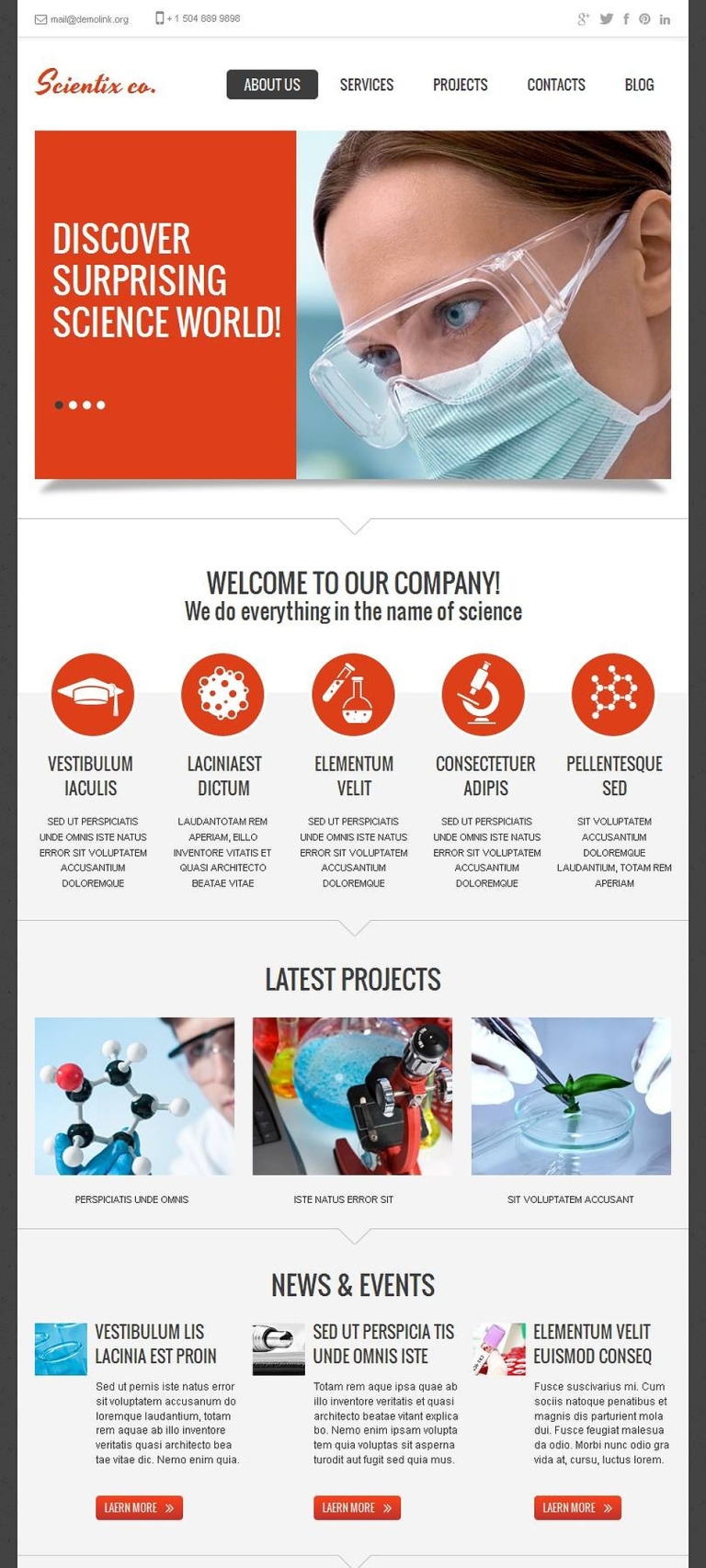 Science Lab Facebook HTML CMS Template New Screenshots BIG