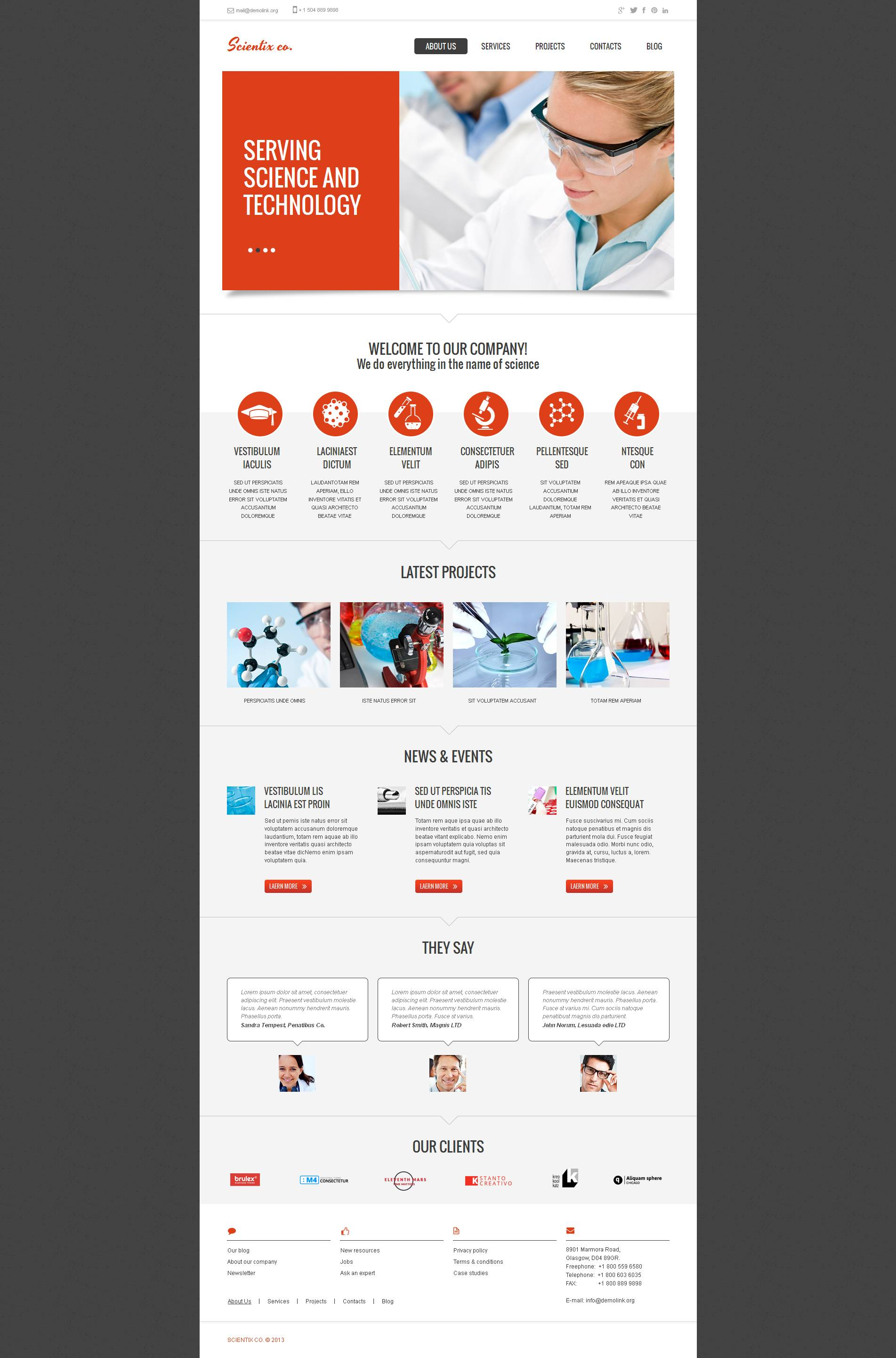 Science Lab Moto CMS HTML Template