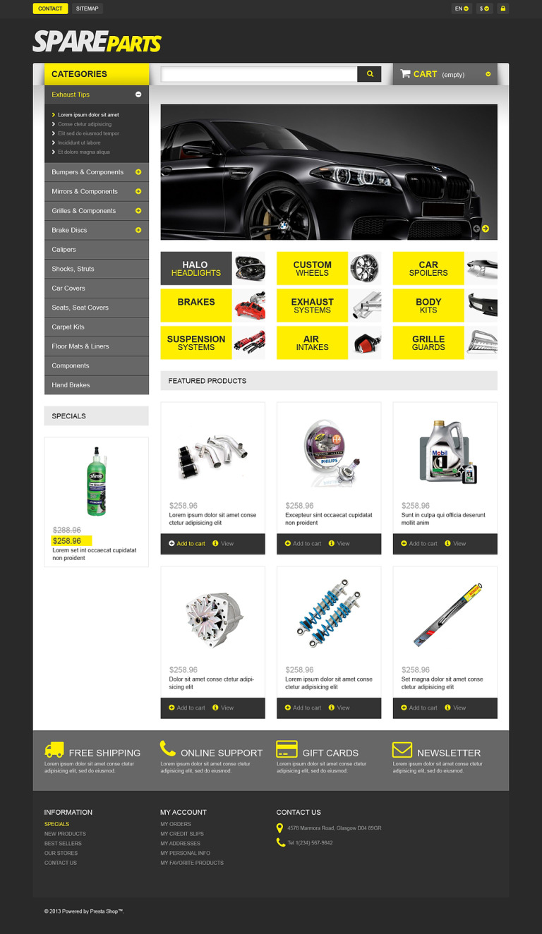 Spares for Speed PrestaShop Theme New Screenshots BIG