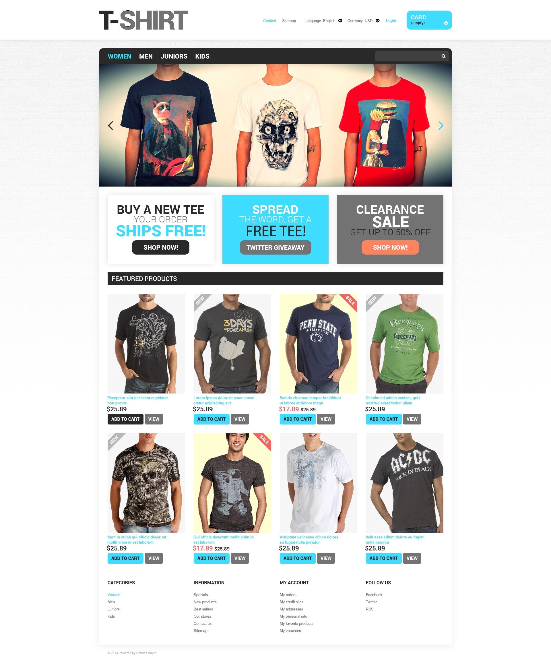 T-Shirts for You PrestaShop Theme #46845