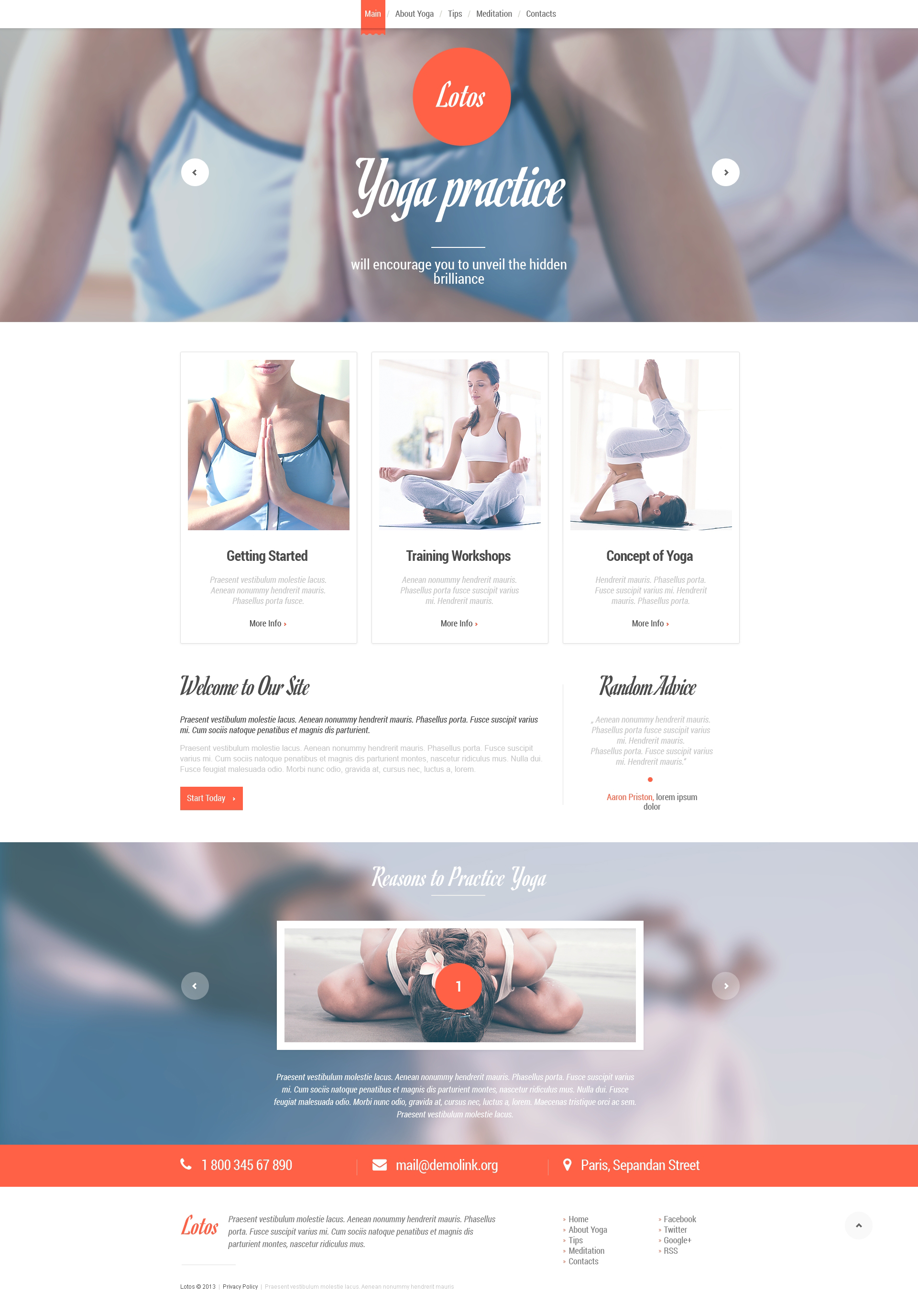 Yoga Responsive Website Template #46828