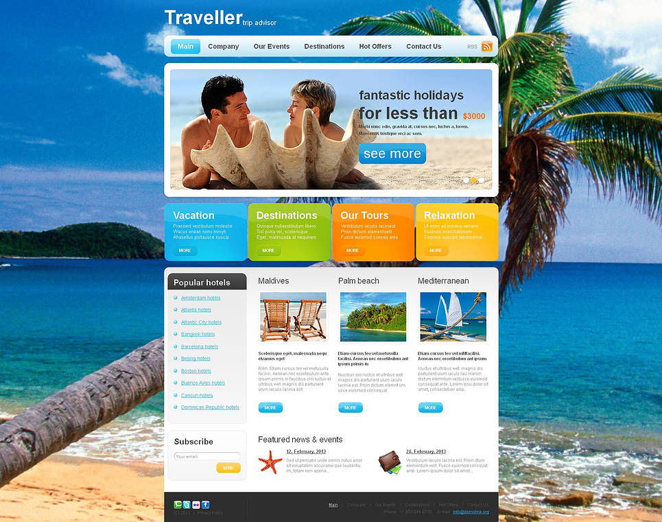 Trip Advisor Website Template with Colorful Content Boxes - image