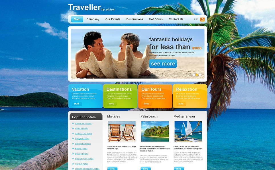 Template Moto CMS HTML para Sites de Guia de Viagens №46935 New Screenshots BIG