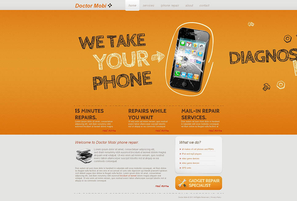 Creative Phone Repair Center Website Template - image
