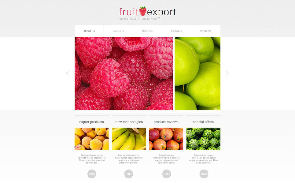 Modèle Moto CMS HTML  pour site de fruits New Screenshots BIG