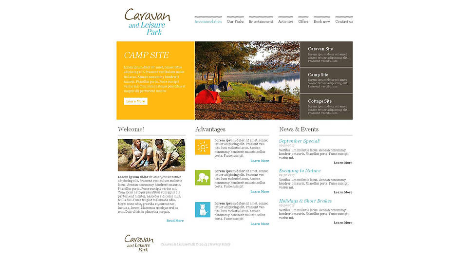 Leisure Park Website Template Done in White Color - image
