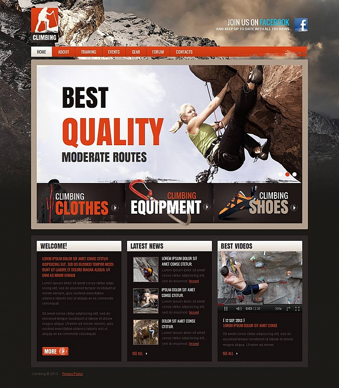 Climbing Website Template with Photo Background - image