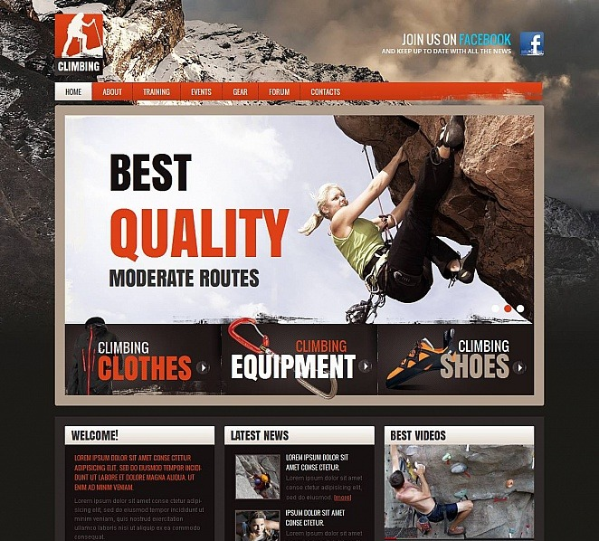 Tema Moto CMS HTML  #46947 per Un Sito di Arrampicata New Screenshots BIG