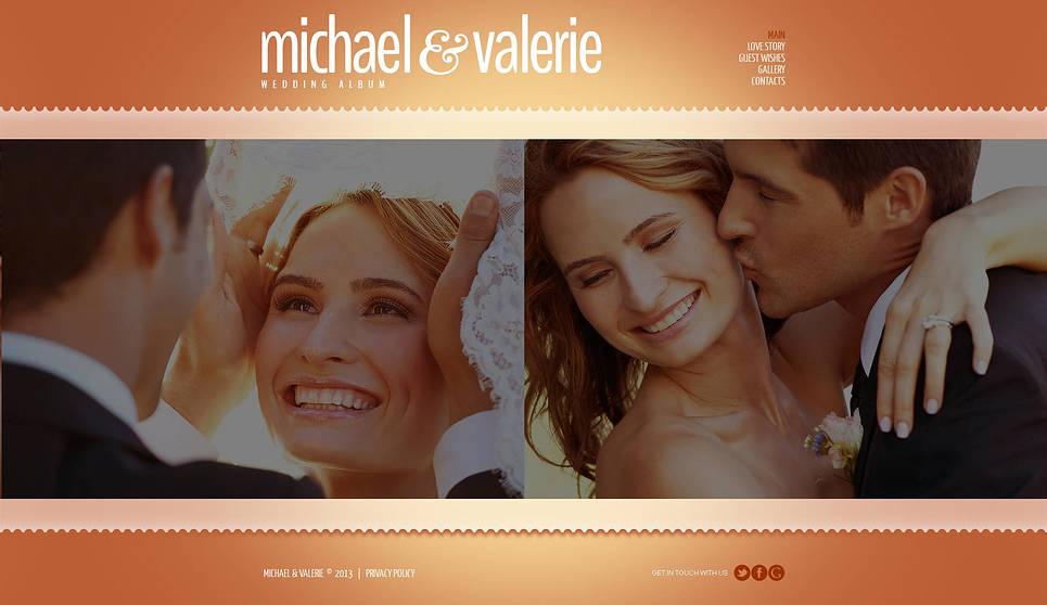 Wedding Website Template Designed in Washed Orange Colors - image
