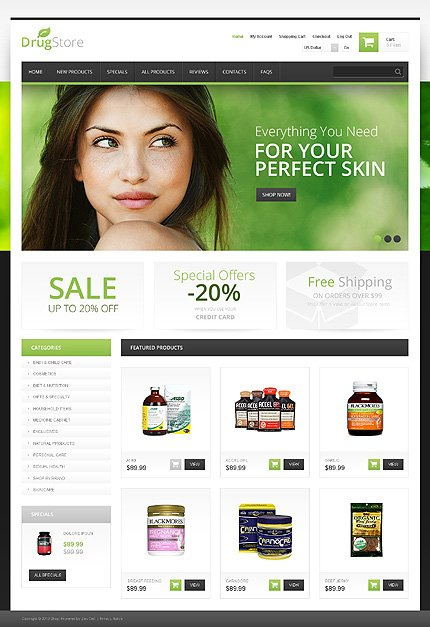 ZenCart Template 46972 Main Page Screenshot