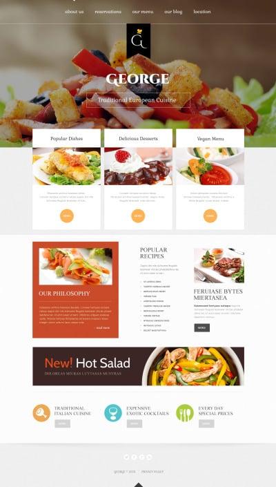 Адаптивный Joomla шаблон №46900 на тему европейский ресторан #46900