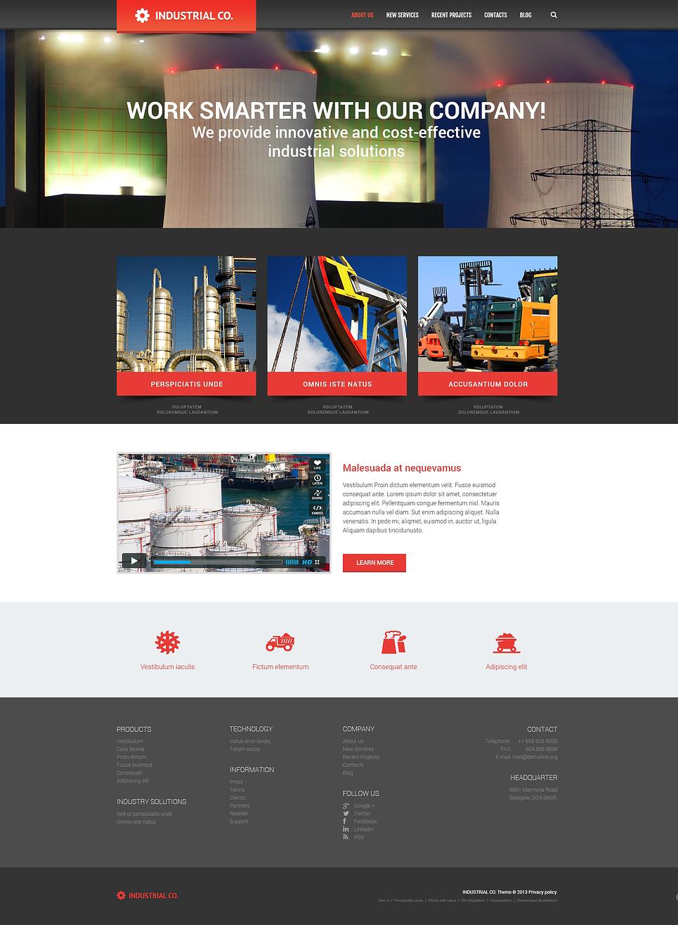 Адаптивный шаблон сайта на тему промышленность #46907