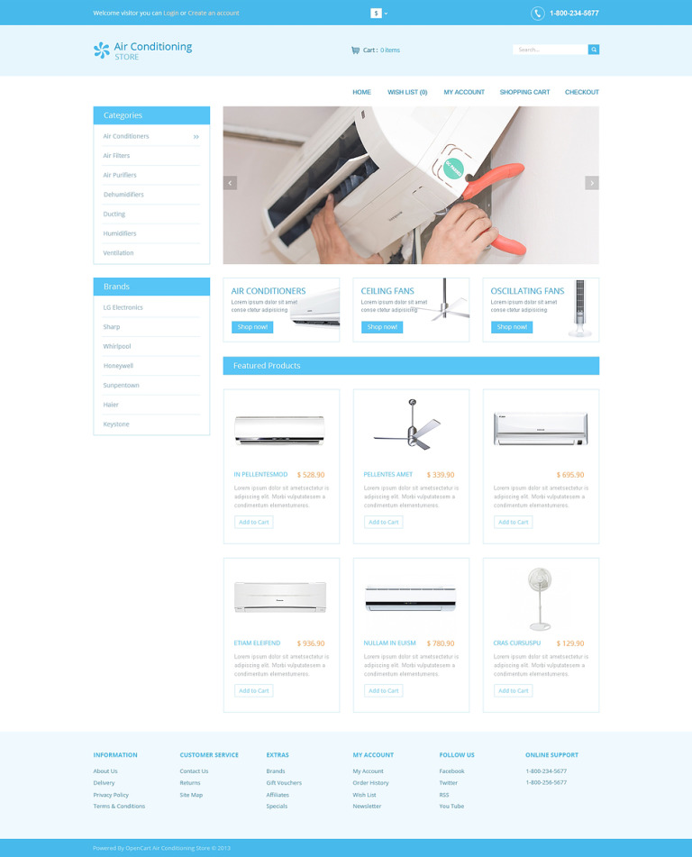 Air Conditioners OpenCart Template New Screenshots BIG