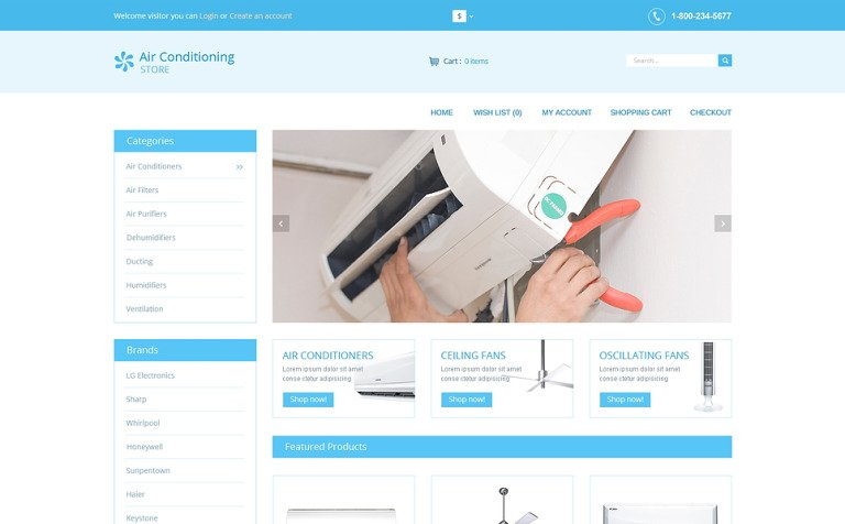 Air Conditioners OpenCart Template