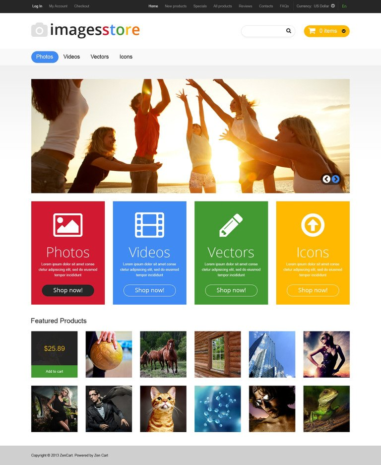 Art Store ZenCart Template New Screenshots BIG
