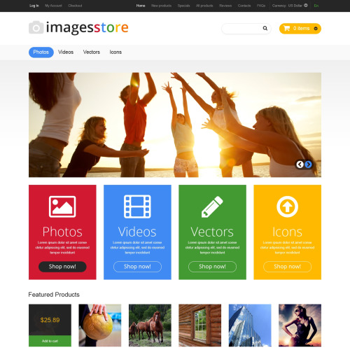 Images Store - HTML5 ZenCart Image Stock Template