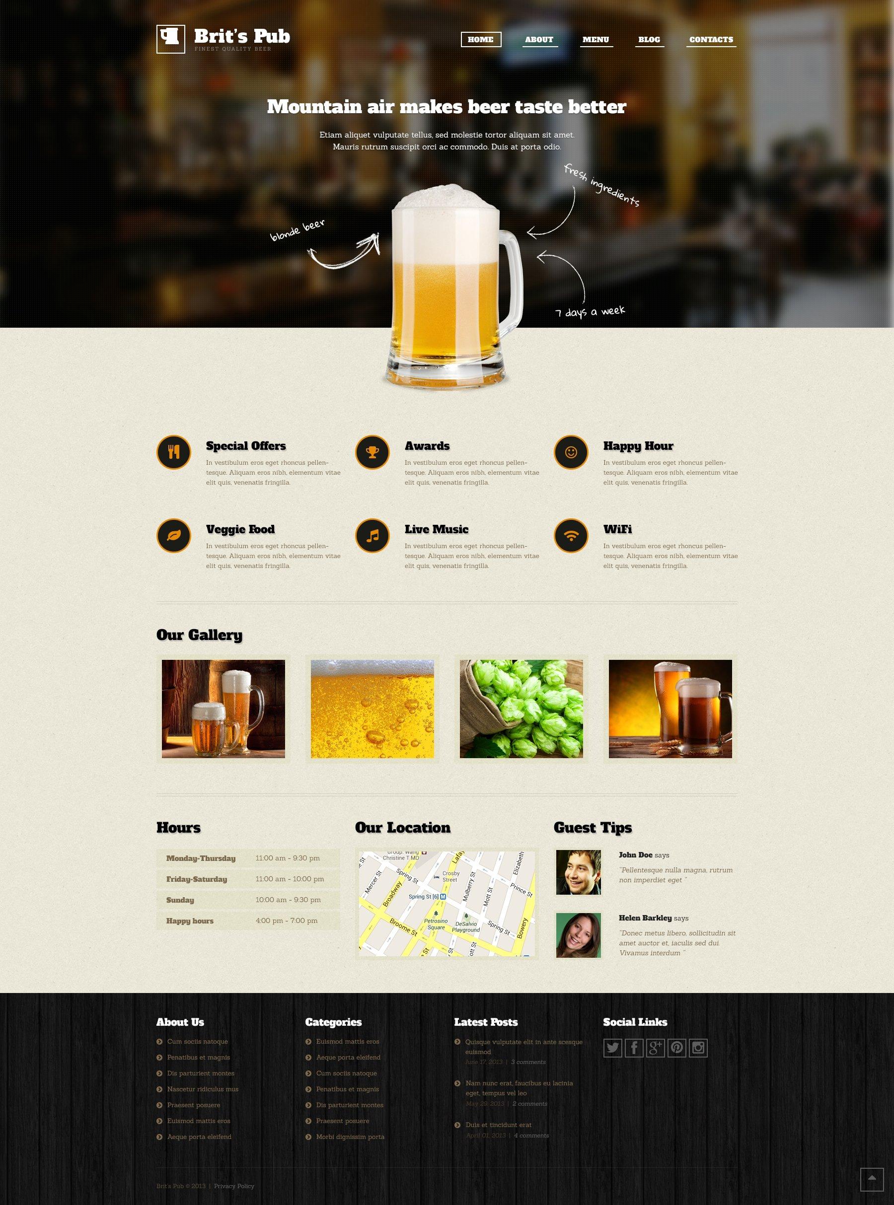 """Beer Pub"" 响应式WordPress模板 #46902"