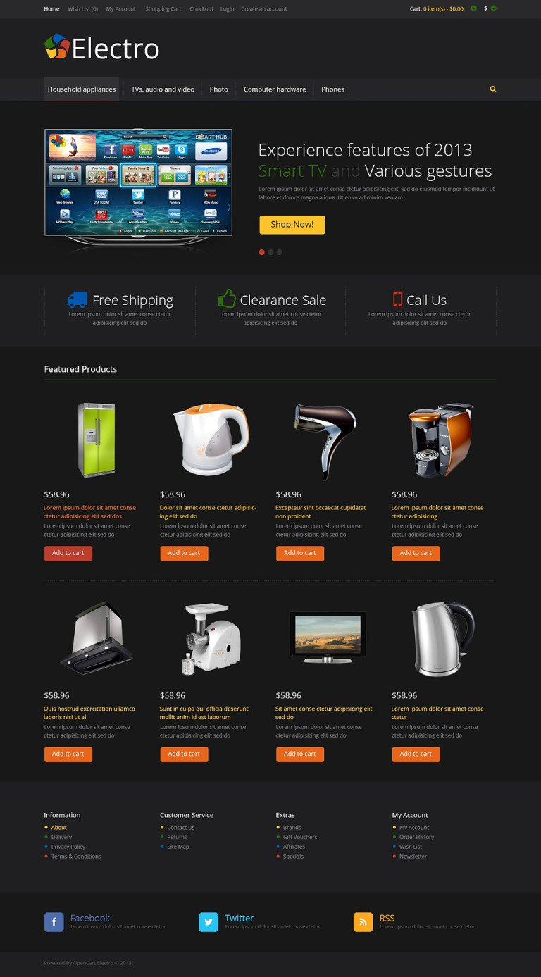 Black Electro Store OpenCart Template New Screenshots BIG