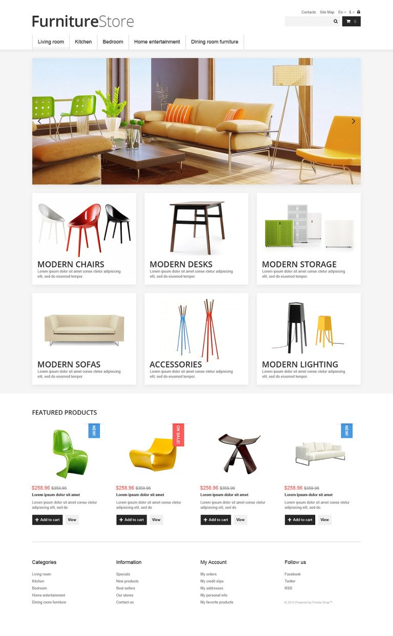 Clean Furniture Store PrestaShop Theme New Screenshots BIG