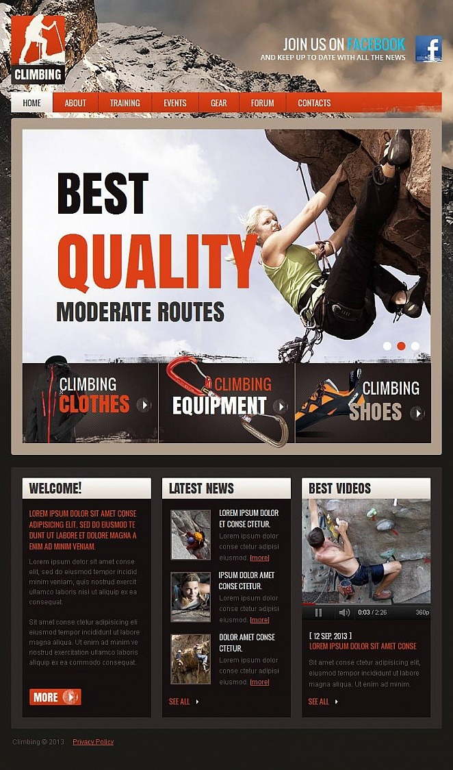 Climbing Facebook HTML CMS Template New Screenshots BIG