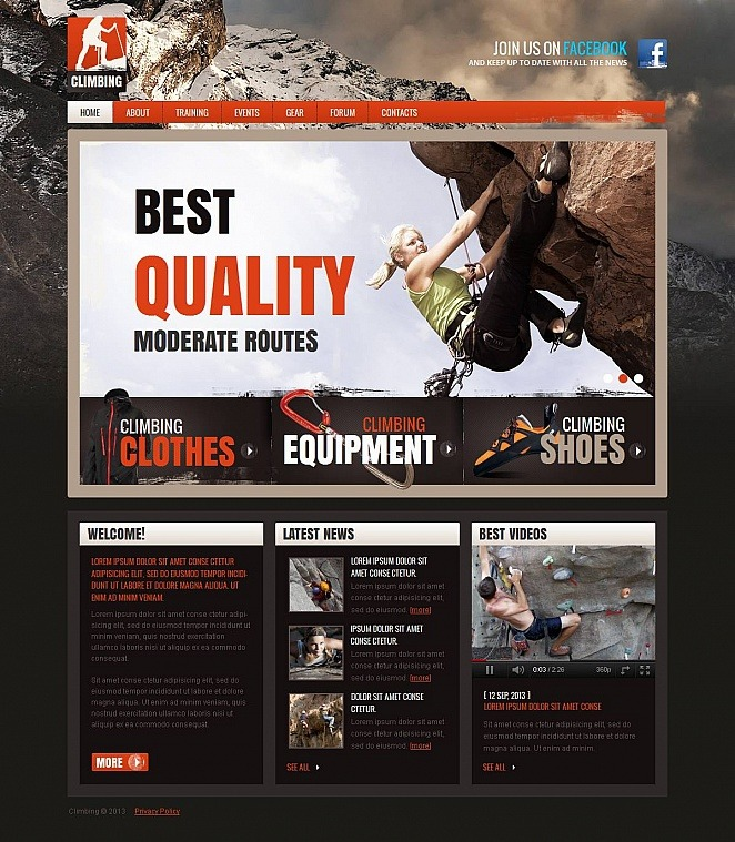 Climbing Moto CMS HTML Template New Screenshots BIG