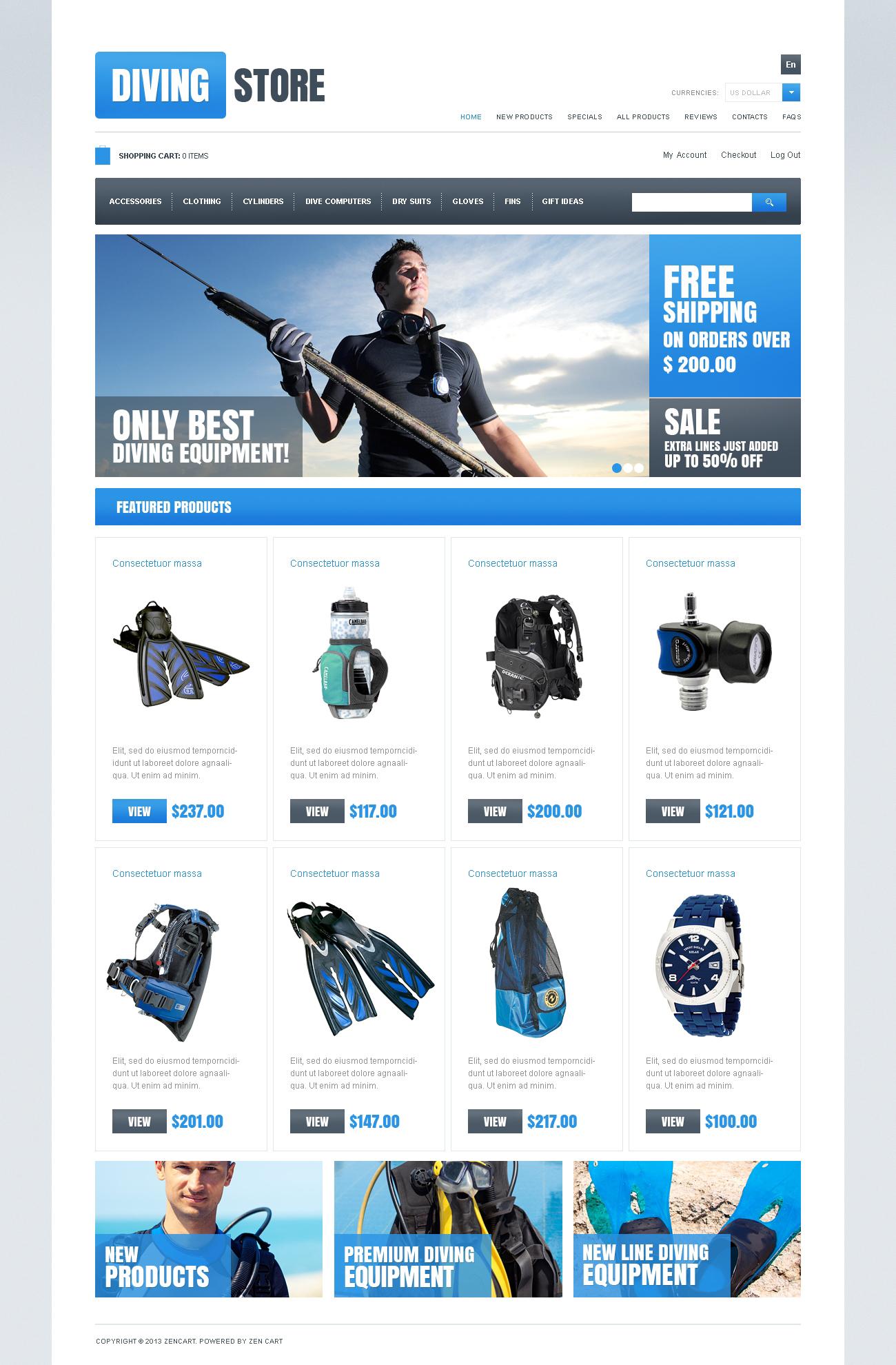 Dive & Discover Template ZenCart №46971