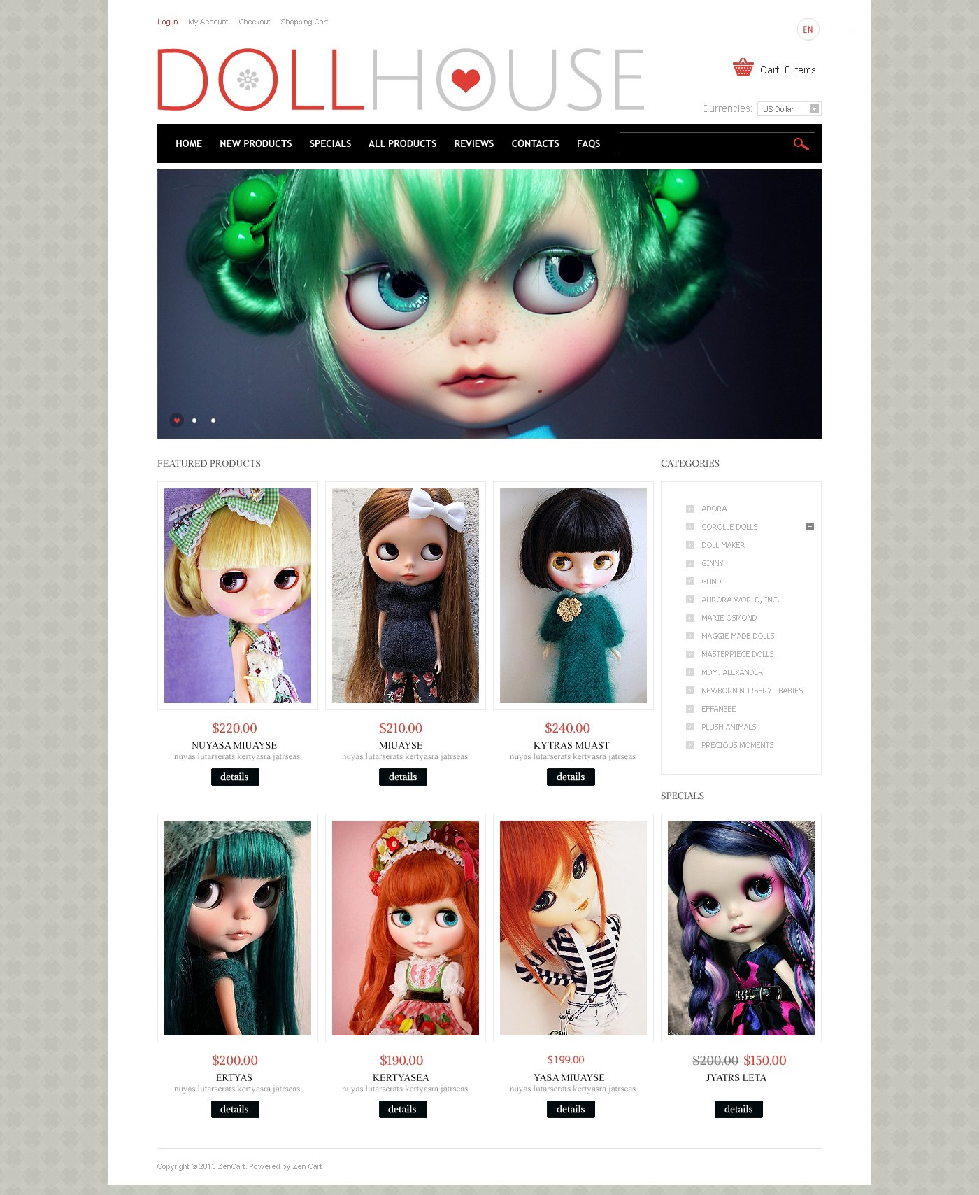 Doll House ZenCart Template - screenshot