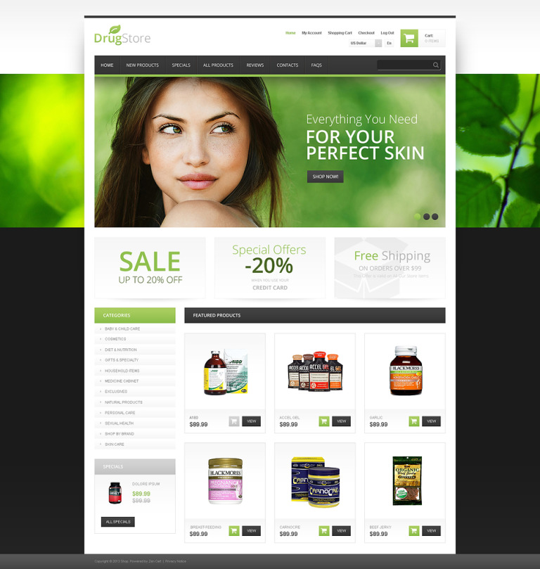 Drug Store ZenCart Template New Screenshots BIG