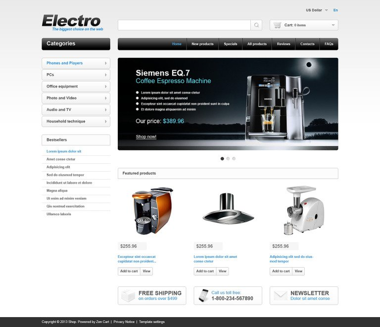 Electro Store ZenCart Template New Screenshots BIG