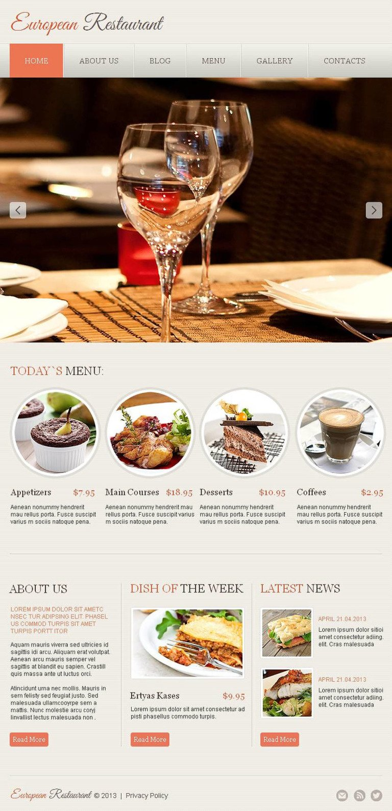 European Restaurant Facebook HTML CMS Template New Screenshots BIG