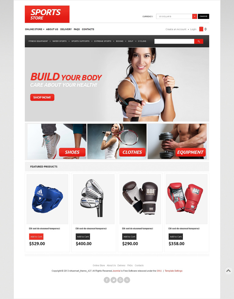 Everything for Sports VirtueMart Template New Screenshots BIG